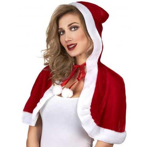 Cape de Père Noel rouge et blanche avec bonnet