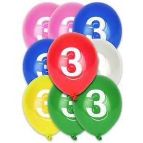 Ballons chiffre 3 biodégradables