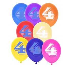 10 Ballons pastel imprimés Chiffre 4