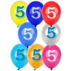 10 Ballons pastel imprimés Chiffre 5