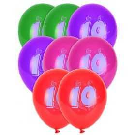 Ballons chiffre 10 biodégradables