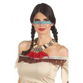 collier indien avec perles et plumes