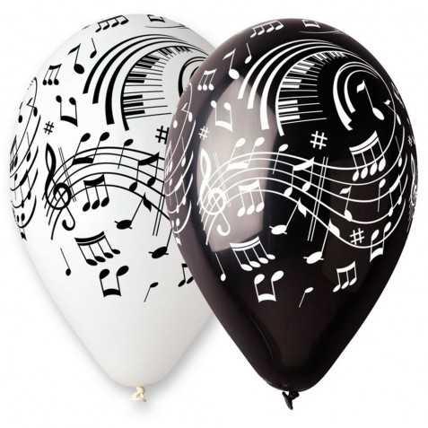 100 ballons avec motifs Notes de musique Blancs et Noirs