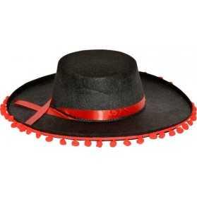Chapeau Espagnol Noir avec pompoms Rouges