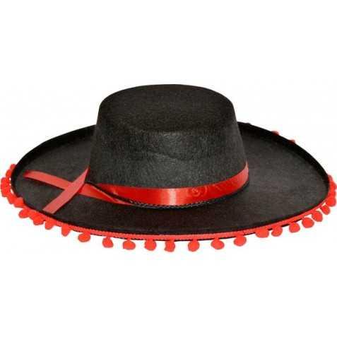 Chapeau Espagnol avec pompoms Rouges