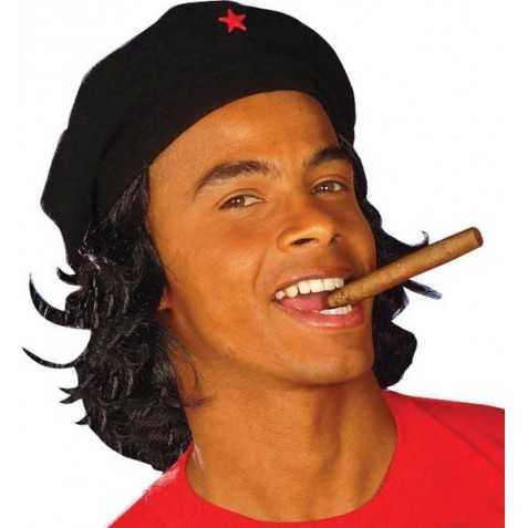 Béret révolutionnaire cubain avec cheveux style Le Ché