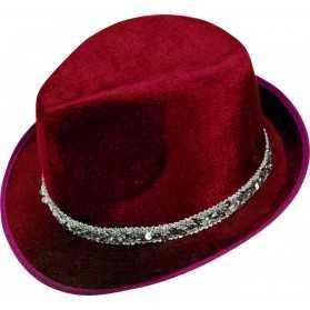Borsalino en velours Rouge et ruban à paillettes