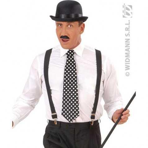 Cravate noire esprit Rétro à pois blancs
