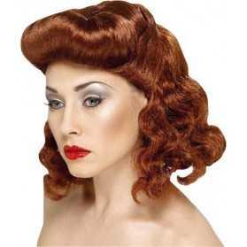 Perruque cheveux roux de Pin Up des années 50