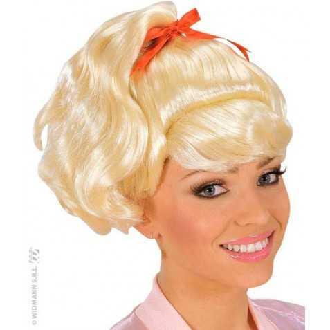 Perruque blonde avec cheveux peroxydés