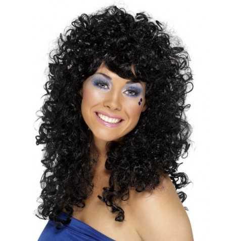 Perruque Gros volume avec cheveux noirs bouclés