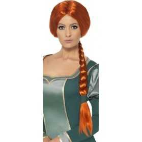 Perruque femme avec longue tresse rousse