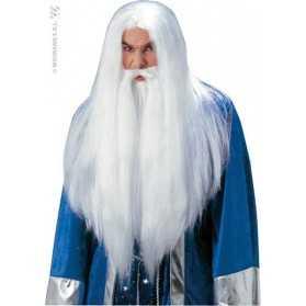 Perruque de Sorcier longs Cheveux blancs et Barbe à élastique