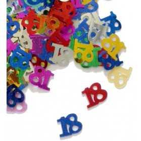 Confettis en forme de Chiffre 18 multicolores