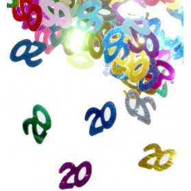 Confettis en forme de Chiffre 20 multicolores