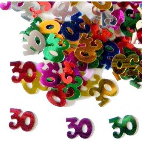 Confettis en forme de Chiffre 30 multicolores