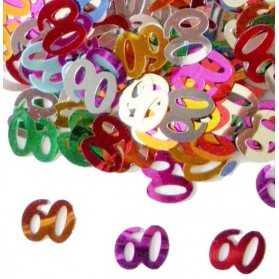Confettis en forme de Chiffre 60 multicolores