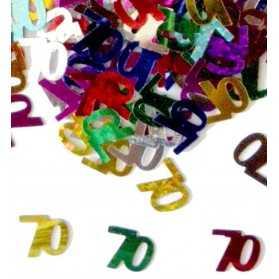 Confettis en forme de Chiffre 70 multicolores