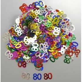 Confettis en forme de Chiffre 80 multicolores