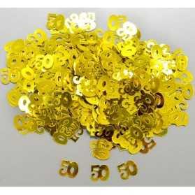 Confettis dorés avec chiffre 50 pour Noces d'Or