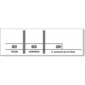 Carnet de 100 tickets Blanc avec 3 souches