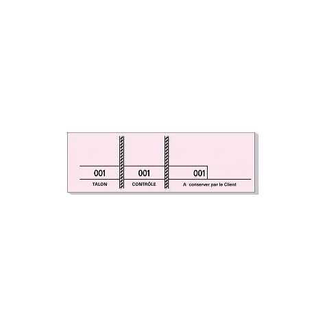 Carnet de 100 tickets Rose avec 3 souches