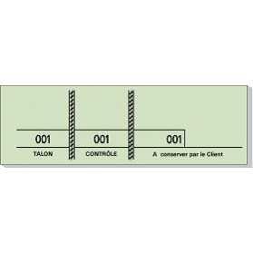 Carnet de 100 tickets Vert avec 3 souches