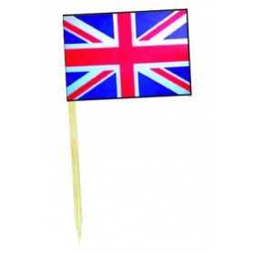 50 mini drapeaux du Royaume-Uni sur pique cocktail