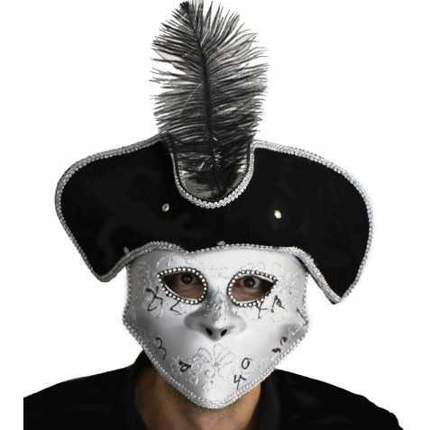 Loup Carnaval à Venise avec chapeau et plume