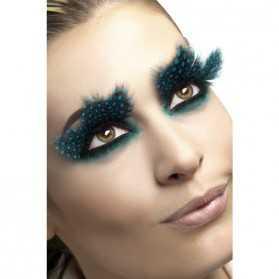 Faux cils à plumes turquoises de Danseuse Etoile